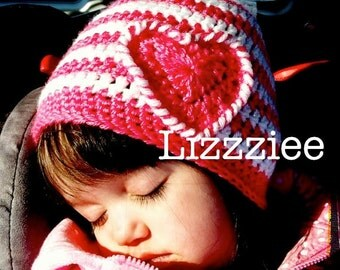 Striped Heart PATTERN pink toddler baby girls beanie hat. Warm and cute hat. Instant Download