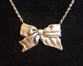 Sterling Silver Bow Necklace - Silver Jewelry - Bow Necklace
