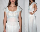 Vintage 50s 60s Semi Sheer Nightgown Nightie / Crystal Pleats Boudoir Lingerie Mad Men Ice Blue / S M