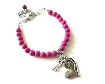 Plum bracelet jewelry, heart and key bracelet antiqued silver,  magenta fuchsia stone beaded bracelet
