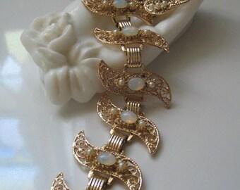 VINTAGE HUGE BRACELET, Faux Opal Moonstone Bracelet, Earrings Set Retro Mod