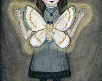 The Moth Girl, Edwardian Girl Art Print, Watercolor Portrait,  Victorian Goth illustration (6x8) Insect Art
