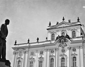 Prague photogpahy, black and white, baroque architecture, TGM statue, Archbishop's Palace, city photography,  12x8, giclee print
