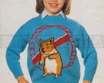 Knitting Pattern For Hamster Jumper : vintage Adult & Childs HAMSTER jumper knitting pattern (90s) (PDF)