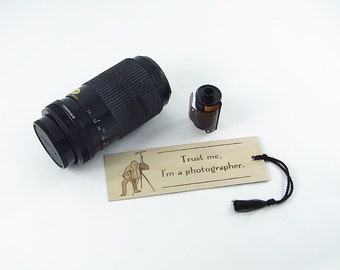 Old Fashioned Camera Wooden Bookmark - Hand Pyrography - Photographer quote