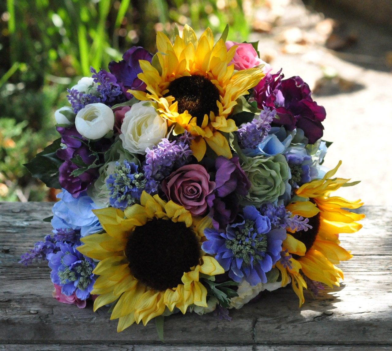 Blue Hydrangea Wedding Flowers: Fall Wedding Bouquet Made Of Silk Flowers Sunflowers Blue