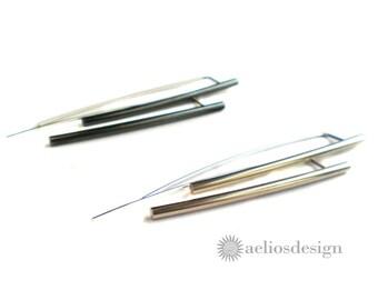 Simple Bar Earrings | Long Elegant Earrings | Minimalist Earrings | Sterling Silver | Blackened Metal | Oxidized Long Earrings