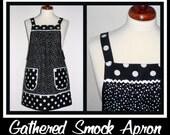 "Black Polka Dot Pinafore Apron, ""no tie apron""-  loose fitting apron , made-to-order XS to Plus Size"