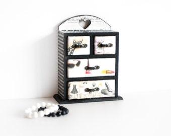 Jewelry Box, Fashion Decoration, French Box, Fashionista Decor Organizer Cabinet, Paris Chest of Drawers, Make up Organizer