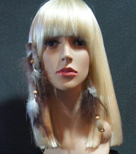 Feather Hair Extension Earring Set Natural Feathers White Golden Brown Black Wood Beads