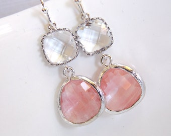 Peach Earrings, Coral Earrings, Glass, Clear, Champagne, Silver, Wedding Jewelry, Bridesmaid Gift, Bridesmaid Earrings, Bridal Jewelry