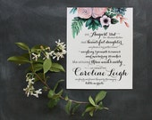 Birth Story Print - (Garden Bouquet) - 8x10 - Modern, Contemporary