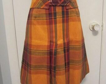 Vintage 1960s Plaid Mini Skirt Small