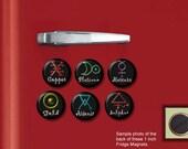 "ALCHEMY Elemental Symbols pagan occult SET of 6 Hand Pressed 1"" Fridge Magnets"