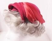 1950s Vintage Schiaparelli Designer Hat - Tilt Hat, Paris, Red / Bright Pink - Easter