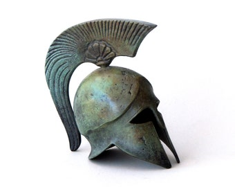 Bronze Helmet, Bronze Sculpture, Metal Art Sculpture, Museum Quality Art, Greek Art, Ancient Greek Spartan Crest Helmet