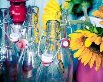 6 Vintage Clear Glass Soda Bottles with Ceramic Porcelain Cap Cork Hinge Top