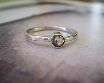 Single Astraea Ring in White Topaz, and Sterling Silver