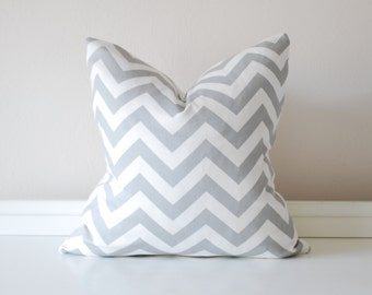 Gray and White Chevron Pillow Cover, Gray Zig Zag Pillow, Gray Striped Pillow, 18x18 Inch Pillow