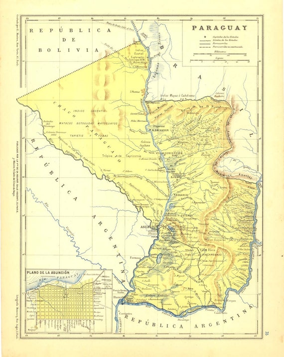 1912 Vintage Map of Paraguay