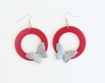 Butterfly Earrings, Hoop Earrings, Butterfly Jewelry, Large Earrings, Statement Earrings, Red Earrings, Jewelry Under 30, Gifts For Her