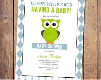 owl baby shower invitations, gender neutral baby shower invitation, modern baby shower invite, checkered, Digital, Printable file (item325)