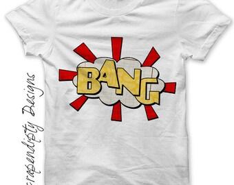 Comic Book Iron on Shirt PDF - Bang Iron on Transfer / Comic Book Shirt / Comic Printable Design / Toddler Boys Clothes / Digital IT115-R