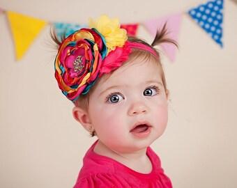 Pink Orange Baby Headband- Birthday Headband- Newborn Photo Prop- Chiffon Headband - Infant Headband- Pink, Turquoise, Yellow, Orange