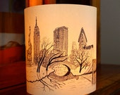 EXTRA LARGE New York Illuminated Paper lantern Originally Hand Drawn - just add candle