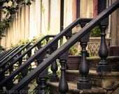 Antique Vintage Brownstone Rowhouses Railings Brick Art Print Jersey City Photography Red Black Rustic Home Decor Black and White