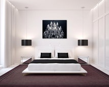 Gallery Wrap Canvas Grand Black and White Chandelier Art Print Ready to Hang Large Wall Art