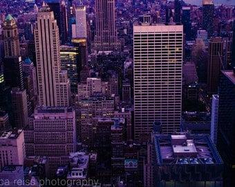 New York City Buildings Night Lights Evening Sunset Art Print Photography Blue Purple Pink Modern Home Decor
