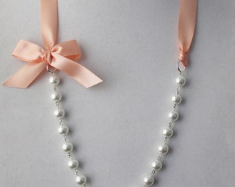 White Pearl and Peach Ribbon Bow Necklace