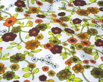 """Vintage Fabric - Bright Orange, Brown & Green Flowers - By the Yard x 44""""W  1970's - Retro Sewing Material"""