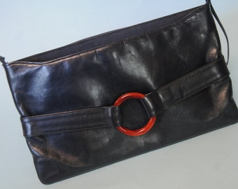 1970s Navy Leather Shoulder Bag