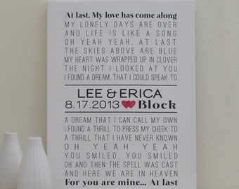 Wedding CANVAS Art (custom wedding song, lyric art, first dance song, anniversary gift) in black and red, custom colors