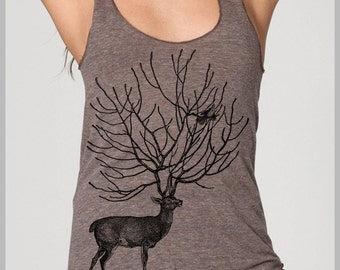 Deer and Bird Women's Tank Top American Apparel Racerback Tank Top Animal Workout Tank