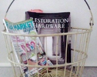 Metal Egg Basket Industrial Rustic Farmhouse