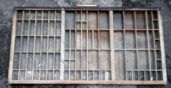 Printers Typeset Tray Thompson Cabinet Company Vintage Wooden Drawer