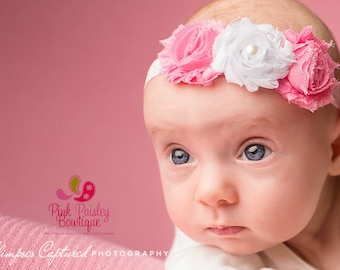 Baby headbands - Pink Polka Dot Shabby Headband - Baby Hair Accessories- Baby Bow Headband - Baby Hairbows - Baby Girl Headband
