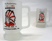 White Frosted Glass Minquas Fire Mugs With Native Design Set of 6 1980's Vintage