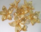 12 Vintage 30mm Apricot Orange Acrylic Flower Beads Bd865