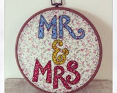 Wedding embroidery, mr and mrs embroidery, wedding gift, wedding decor.