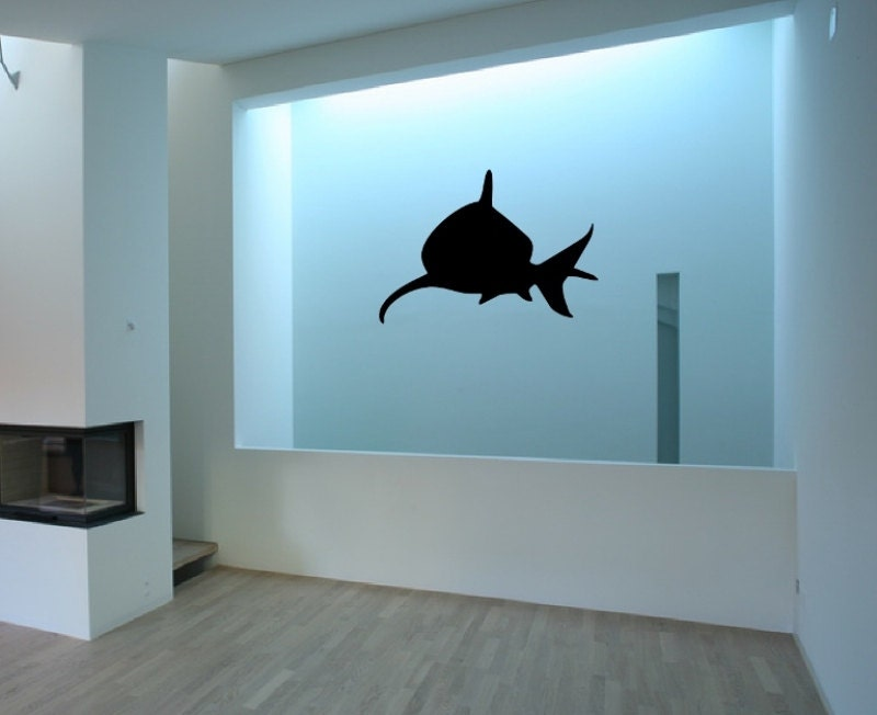 wall decal shark front facing silhouette vinyl wall decal. Black Bedroom Furniture Sets. Home Design Ideas