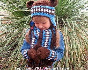 Crochet PATTERN Set - Bear Hat Pattern Children's Mittens Scarf Boys Girls Winter Set Christmas Gift Brown Blue Crochet Patterns Children