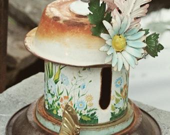 "Birdhouse, Metal Birdhouse, Reclaimed Objects Birdhouse, ""Butterfly House"""