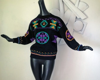Vintage 80s Southwestern Sweater 1980s Southwest Indian Blanket goes Navajo New Wave MOD in Teal Green Purple Yellow on Black Size Medium