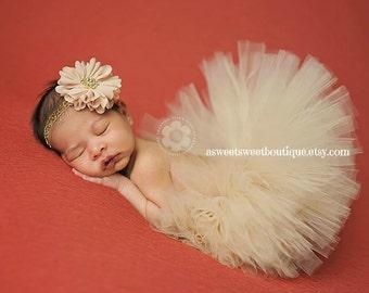 Beige Tutu Sweet Golden Beige Sparkle Couture Tutu Newborn Tutu With Matching Vintage Style Flower Headband Stunning Newborn Photo Prop