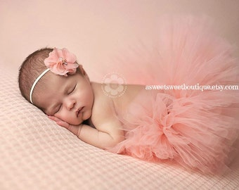 Sweet Petal Peach Tutu Couture Tutu With Matching Flower Headband From The Sweet Sweet Couture Collection Adorable Baby Photo Prop