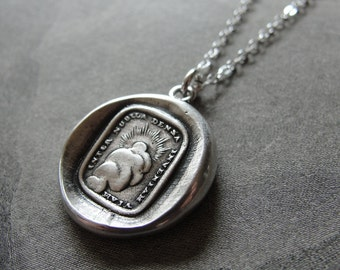 Wax Seal Necklace With Sun - antique wax seal jewelry - Through Thickest Clouds I Find My Way - silver